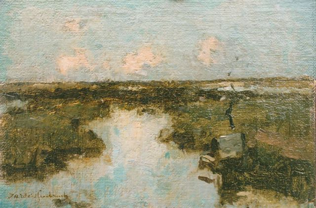 Jan Hendrik Weissenbruch | A polder landscape, oil on canvas laid down on panel, 13.1 x 19.3 cm, signed l.l.