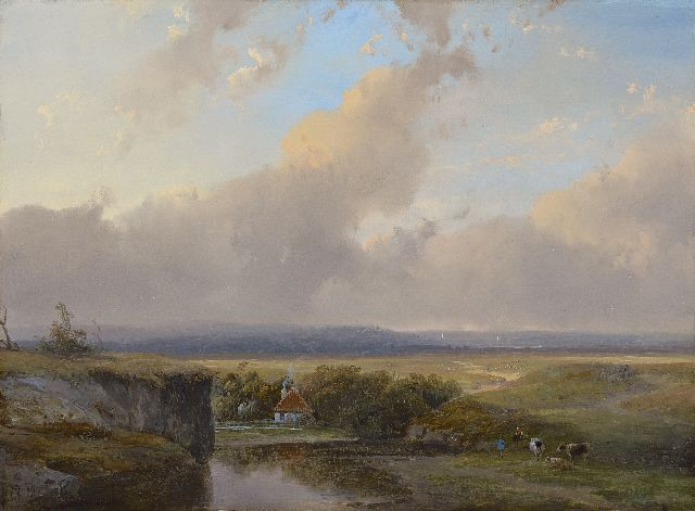 Andreas Schelfhout | A river valley, oil on panel, 23.3 x 31.5 cm, signed l.l.