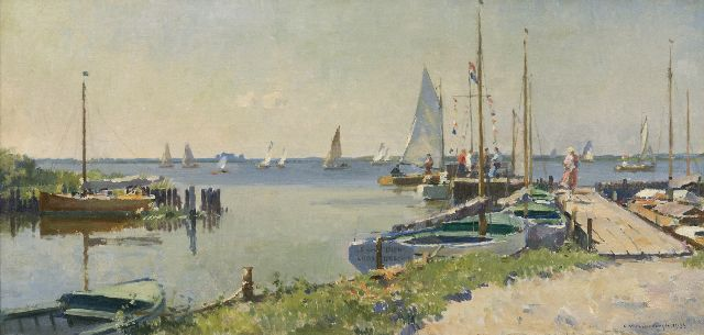Cornelis Vreedenburgh | A sunny day along the Lake Loosdrecht, oil on canvas, 36.3 x 74.8 cm, signed l.r. and dated 1933