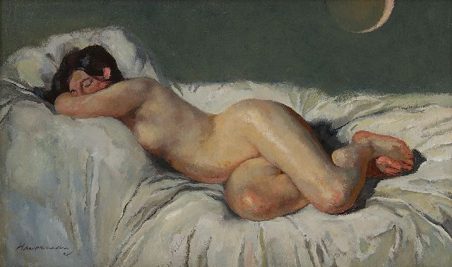 Hendrik Johannes Haverman | Reclining nude at solar eclipse, oil on canvas, 31.1 x 50.3 cm, signed l.l.