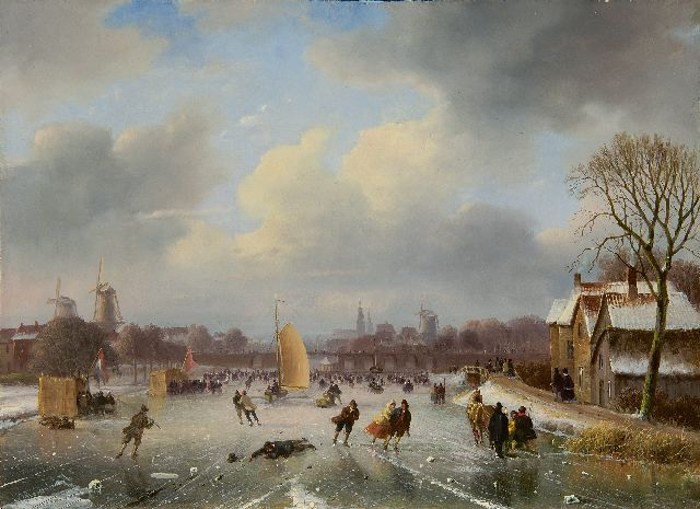 Nicolaas Johannes Roosenboom | Skaters near a town, oil on panel, 29.5 x 40.4 cm, signed l.l.
