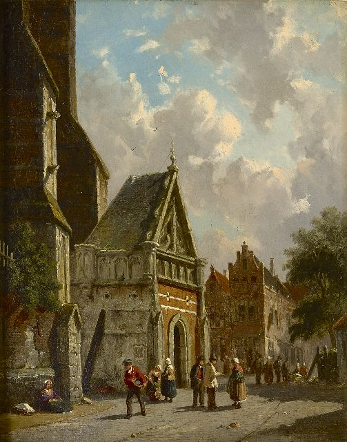 Eversen A.  | Behind the church, oil on panel 34.8 x 27.0 cm, signed l.r.