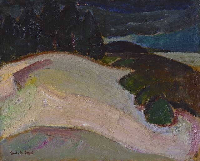 Gustave De Smet | Landscape, oil on board laid down on panel, 31.9 x 38.6 cm, signed l.l. and painted ca. 1917