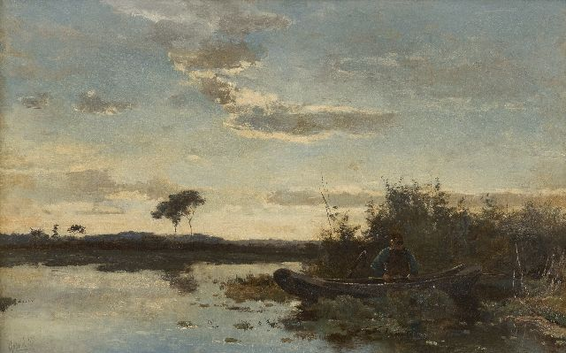 Paul Joseph Constantin Gabriel | Angler in a rowing boat at sunset, oil on canvas, 29.4 x 45.9 cm, signed l.l.