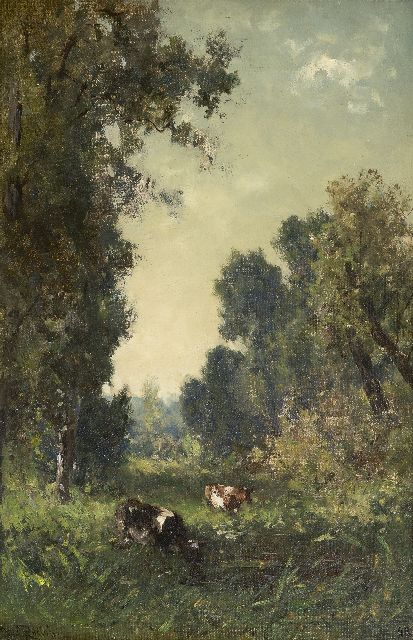 Roelofs W.  | Drinking cows, Lanaije, oil on canvas, 43.7 x 28.5 cm, signed l.l. and painted ca. 1884