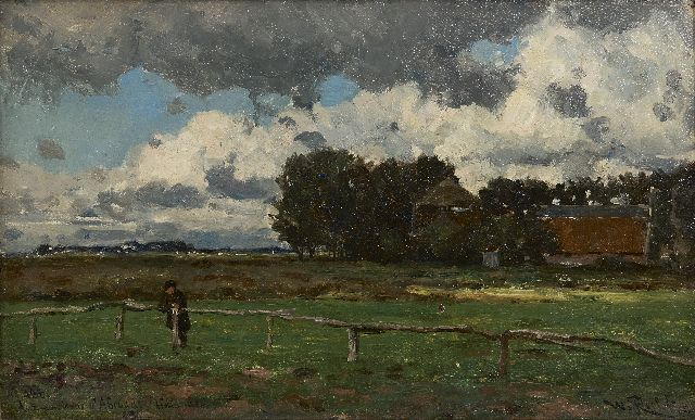 Roelofs W.  | Aux environs d'Abcoude, oil on canvas laid down on panel, 26.7 x 43.8 cm, signed l.r. and dated 1881 on the reverse