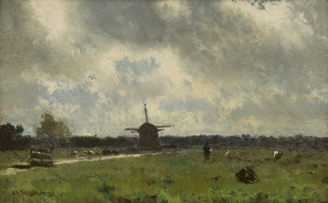 Jan Hendrik Weissenbruch | A polder landscape on a rainy day, oil on paper laid down on panel, 19.4 x 30.8 cm, signed l.l.