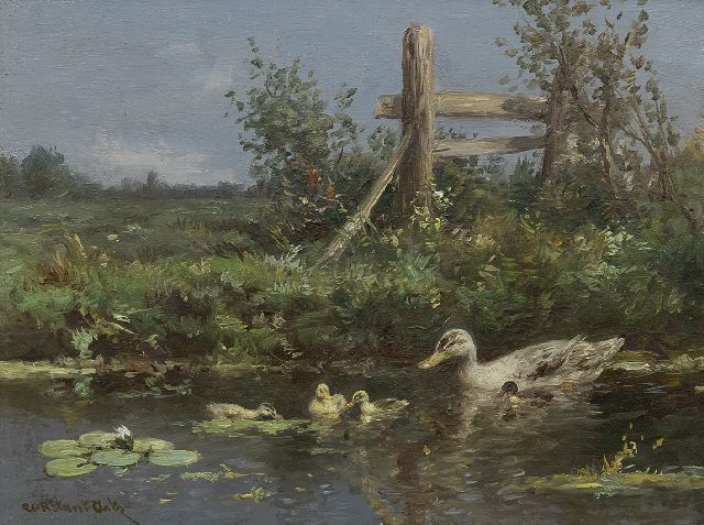 Artz C.D.L.  | Ducks and ducklings near the waterfront, oil on panel 18.1 x 24.2 cm, signed l.l.
