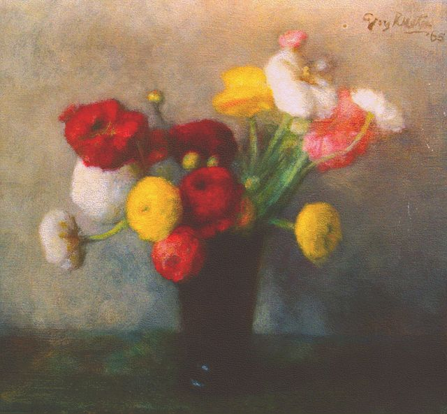 Georg Rueter | Turban buttercups in a vase, oil on canvas, 41.3 x 44.0 cm, signed u.r. and dated '65