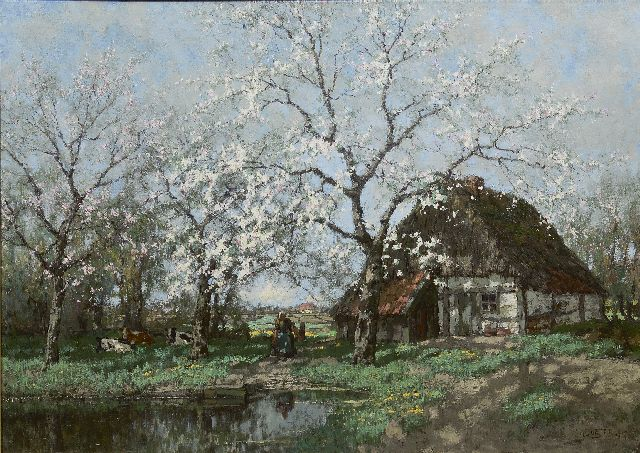Arnold Marc Gorter | Apple tree in bloom on een farmyard near a brook, oil on canvas, 100.9 x 135.4 cm, signed l.r. and dated 1915