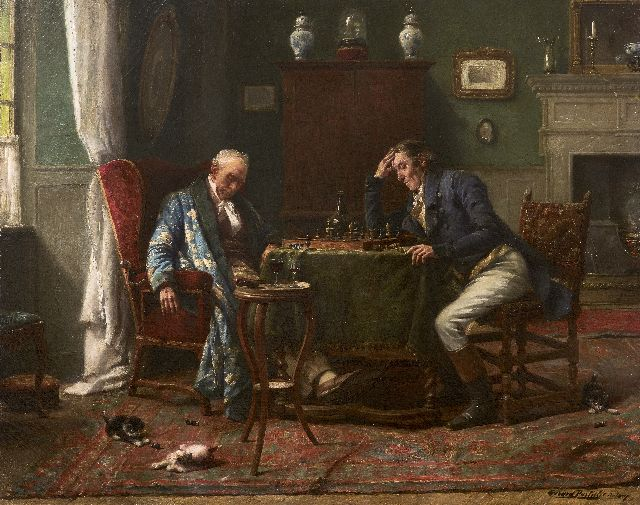 'Gerard' Joseph Portielje | The chess game, oil on canvas, 46.7 x 58.5 cm, signed l.r.