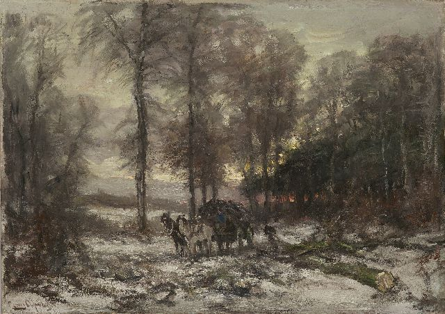 Louis Apol | A snowy forest with a horse-drawn cart, oil on canvas, 50.3 x 70.4 cm, signed l.l.