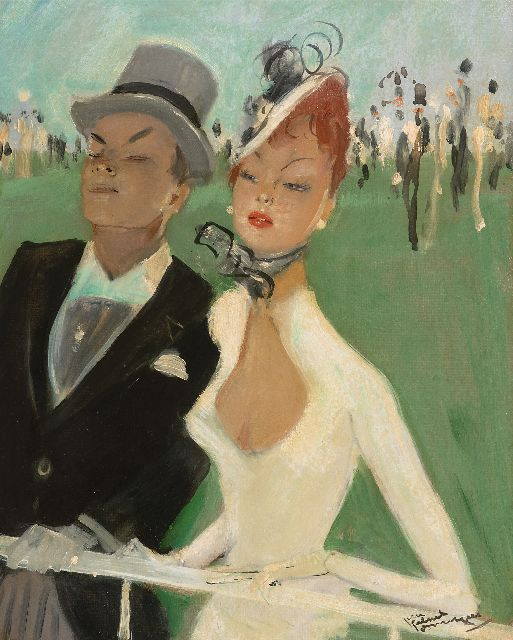 Jean-Gabriel Domergue | Au grand steeple, oil on board, 40.9 x 32.8 cm, signed l.r. and dated '29 on the reverse