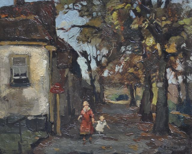 Cor Noltee | A village path with mother and child, oil on panel, 26.9 x 32.8 cm, signed l.r.