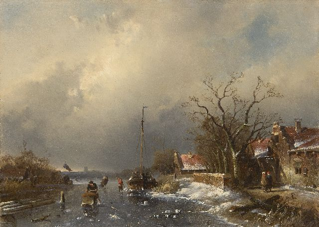 Charles Leickert | Skaters on a frozen waterway, an approaching blizzard in the distance, oil on panel, 24.3 x 33.1 cm, signed l.l.