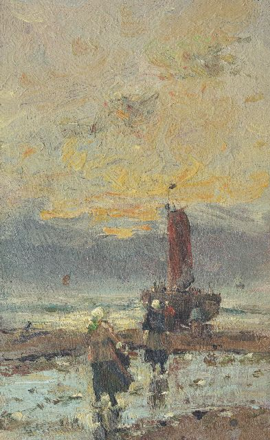 Munthe G.A.L.  | Fisher women on the beach, oil on canvas laid down on panel 23.2 x 14.2 cm