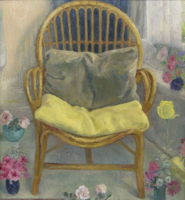 Schultze P.  | The chair in the conservatory, oil on board 69.3 x 64.3 cm, signed l.c. and dated on the reverse 24 July '60