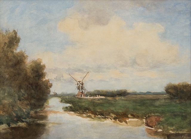 Jan Hendrik Weissenbruch | The windmills De Oude Meije and Nieuwe Ziende mill in the polder Nieuwkoop en Noorden, watercolour on paper, 45.2 x 60.4 cm, signed l.r. and dated 1901