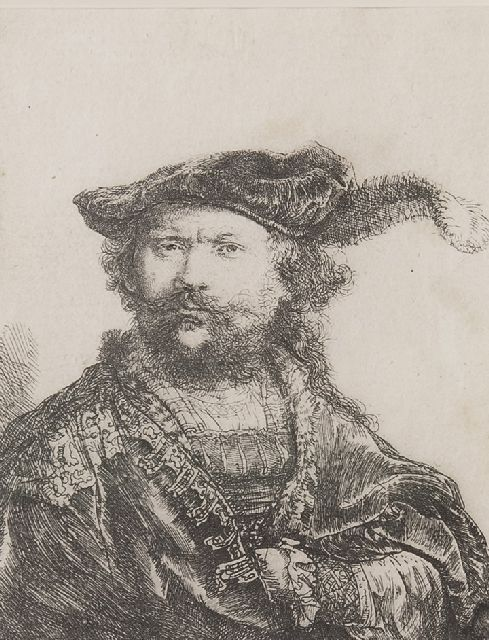 Rembrandt (Rembrandt Harmensz. van Rijn) | A self-portrait in a velvet cap with plume, etching on paper, 13.4 x 10.3 cm