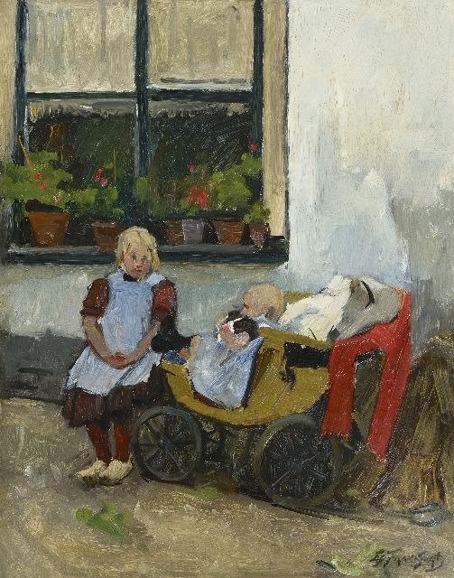 Eduard Frankfort | Taking care of her little sister, oil on board, 40.2 x 31.5 cm, signed l.r.