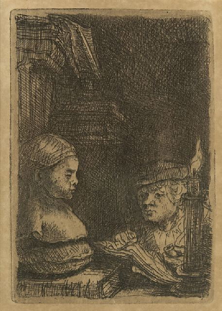 Rembrandt (Rembrandt Harmensz. van Rijn) | A man making a drawing after a plaster model, etching on paper, 9.3 x 6.3 cm