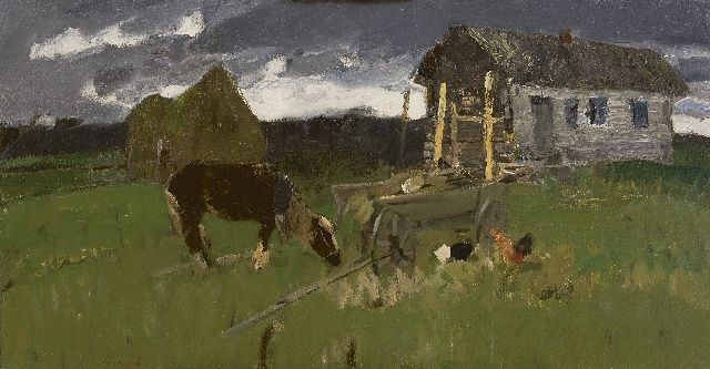 Varichev I.M.  | On the outskirts of the village, oil on canvas 59.7 x 115.3 cm, signed l.l., on the reverse and on the stretcher
