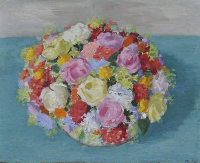 Raoul Martinez | Flowers, oil on canvas laid down on board, 48.9 x 60.5 cm, signed l.r.