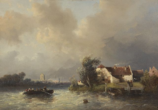 Salomon Verveer | A ferry on a choppy river, the Grote Kerk of Dordrecht in the distance, oil on panel, 20.8 x 29.6 cm, signed l.r. and dated '51