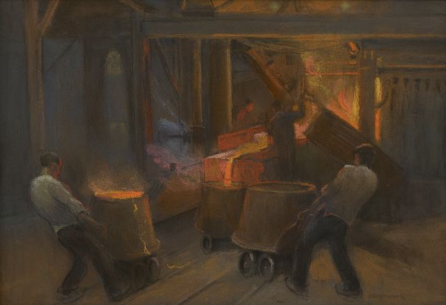 Herman Heijenbrock | At the iron foundry, pastel on paper, 33.1 x 47.6 cm, signed l.r.