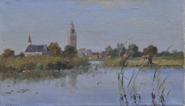 Knikker A.  | View of Nieuwkoop, oil on canvas 30.3 x 50.3 cm, signed l.l.