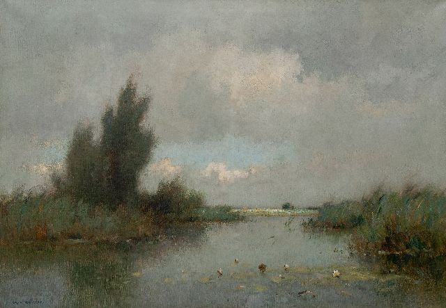 Knikker A.  | A polder landscape with water lilies, oil on canvas 70.3 x 100.4 cm, signed l.l.