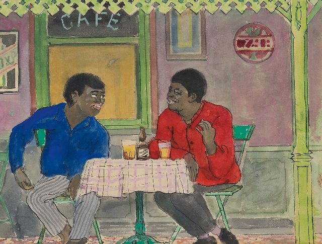 Harm Kamerlingh Onnes | Friends on a terrace        on the terrace, watercolour on paper, 19.3 x 25.3 cm