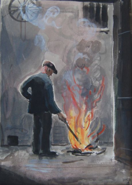 Harm Kamerlingh Onnes | A factory worker at a fire, watercolour on paper, 28.0 x 19.0 cm, signed l.r. with monogram and dated '58