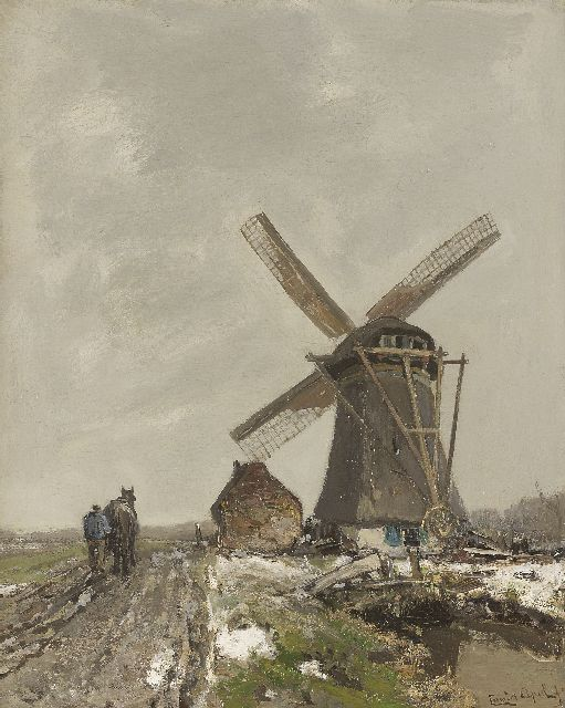 Louis Apol | A farmer ploughing near a polder-mill, oil on canvas, 52.3 x 42.0 cm, signed l.r.