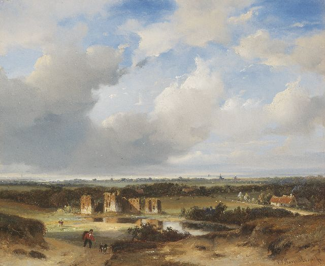 Nicolaas Johannes Roosenboom | A view of the ruins of Brederode and the Wijkermeer, oil on panel, 26.9 x 32.8 cm, signed l.r.