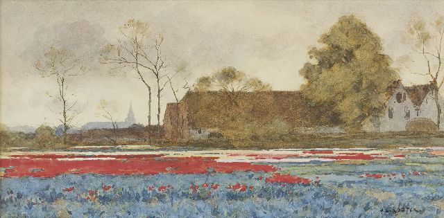 Anton L. Koster | Bulb fields, watercolour on paper, 22.2 x 44.5 cm, signed l.r.