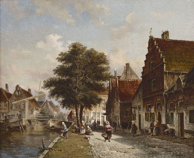 Adrianus Eversen | A view of the Burgwal, Haarlem, oil on canvas, 47.4 x 57.5 cm, signed l.r.
