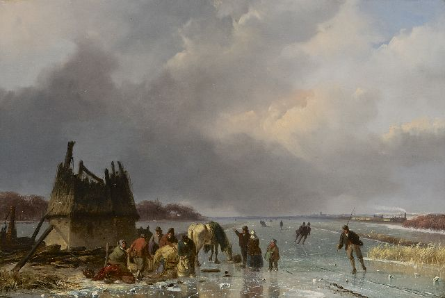 Nicolaas Johannes Roosenboom | A frozen river with skaters and a horse-drawn sledge, oil on panel, 29.4 x 43.7 cm, signed l.r. and painted ca. 1850-1855
