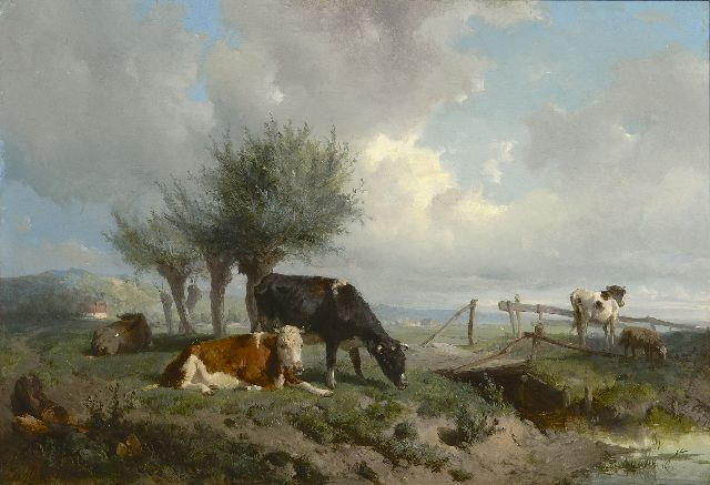 Mauve A.  | Cattle in a meadow, near Oosterbeek, oil on panel 30.3 x 43.9 cm, signed l.r. and dated 1866