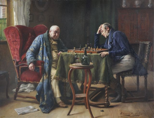 Portielje G.J.  | The chess game, oil on panel 37.3 x 46.0 cm, signed l.r.