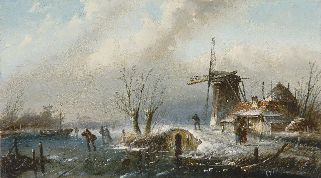 Jacob Jan Coenraad Spohler | A winter landscape with skaters, oil on canvas, 18.3 x 32.5 cm, gesigneerd r.o.