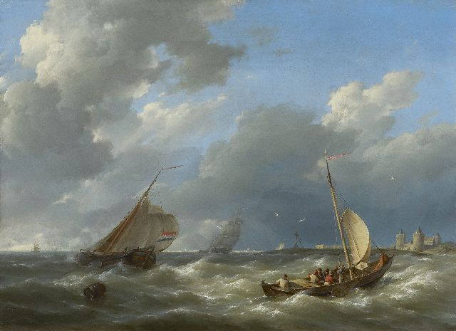 Hermanus Koekkoek | Shipping off the coast near the Muiderslot, oil on panel, 29.5 x 40.7 cm, signed l.l. and dated 1842