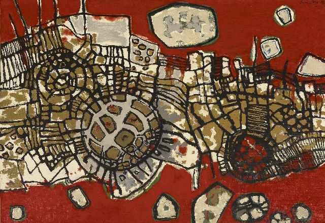 Corneille ('Corneille' Guillaume Beverloo)   | Les rochers rouges, oil on canvas 65.0 x 92.0 cm, signed u.r. and dated '55