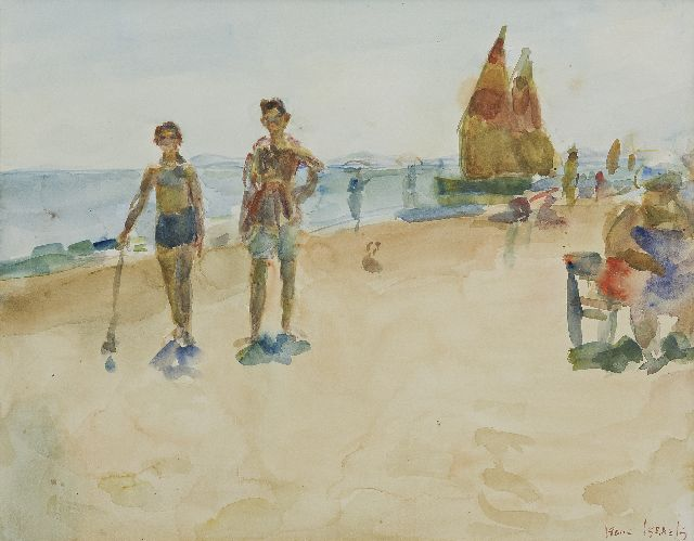 Israels I.L.  | Beach scene, Italy, watercolour on paper, 38.5 x 48.9 cm, signed l.r.