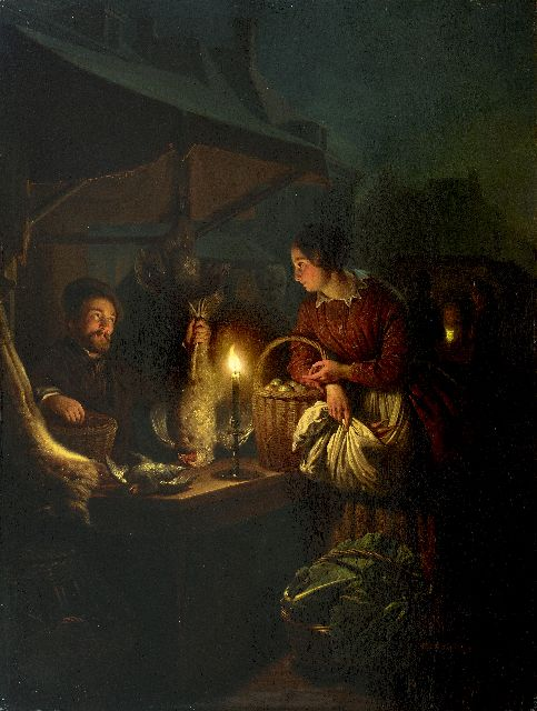 Petrus van Schendel | The game and poultry seller, by candle light, oil on panel, 57.0 x 42.8 cm, signed l.r. and dated 1856