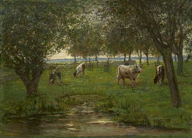 Mondriaan P.C.  | Cattle in an orchard, oil on canvas 50.2 x 69.3 cm, signed l.l. and painted 1902-1903