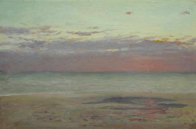 Hendrik Willem Mesdag | Sunset above sea, oil on canvas laid down on panel, 19.0 x 28.5 cm