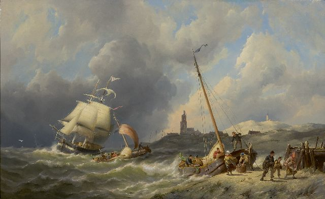 Pieter Cornelis Dommershuijzen | A view on the coast of Walcheren, oil on panel, 50.3 x 81.6 cm, signed l.l. and dated 1886