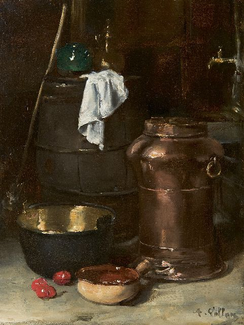 Antoine Vollon | Still life with a copper churn and brass pan, oil on panel, 32.3 x 24.3 cm, signed l.r.