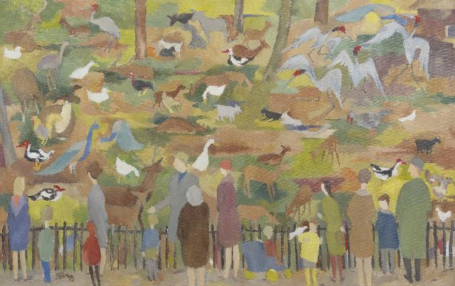 Vries J.S. de | At the deer-park, oil on canvas 50.0 x 80.1 cm, signed l.l. with monogram and painted early 1960's